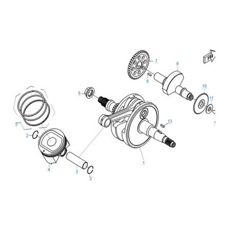 Коленчатый вал-поршень-балансировочный вал двигателя 196S-C