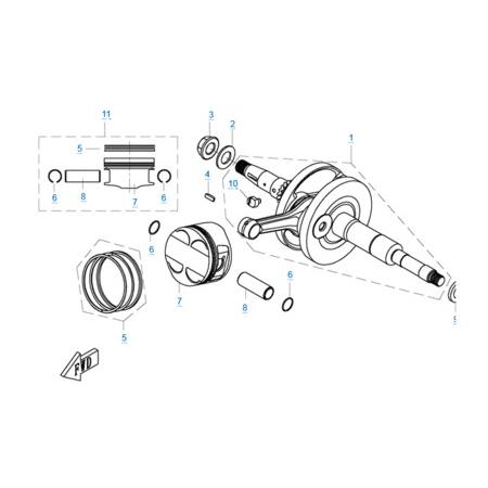 Коленчатый вал-поршень двигателя 1P72MM-A(A1)