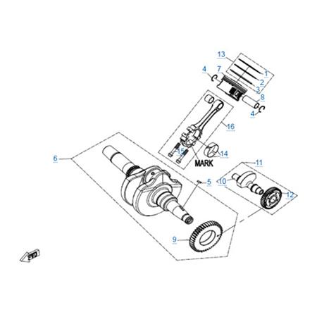 Коленчатый вал-шатун-поршень двигателя 191Q