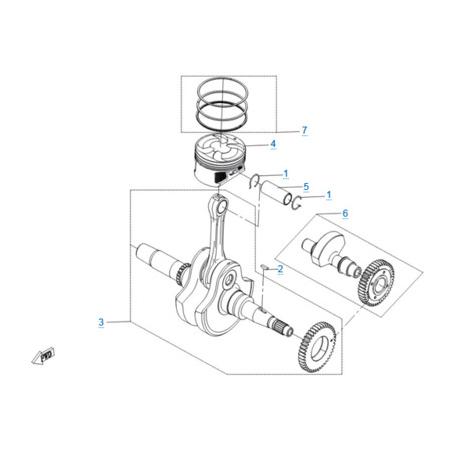 Коленчатый вал-шатун-поршень двигателя 191R(A)