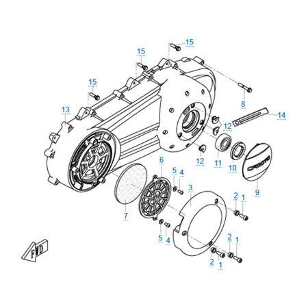 Левая крышка картера двигателя 1P72MM-A(A1)