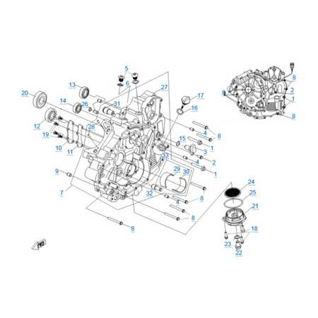 Левая половина картера двигателя 191R(A)