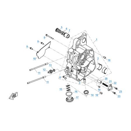 Правая половина картера (c 2014) двигателя 1P72MM-A(A1)