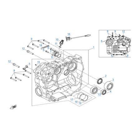 Правая половина картера двигателя 191S