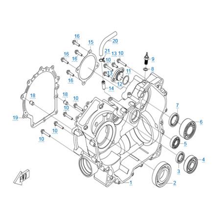 Правая половина картера двигателя 196S-B