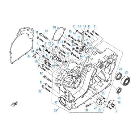 Правая половина картера двигателя 2V91W (U8)