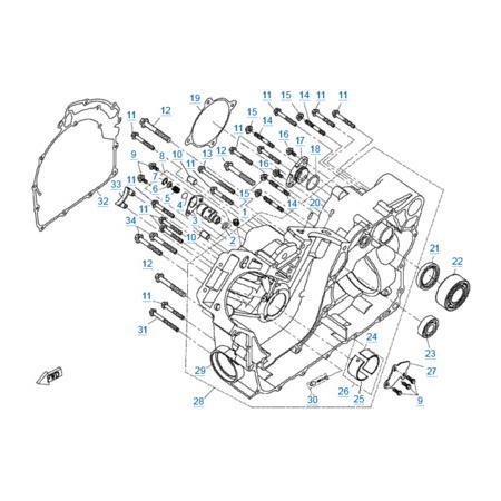 Правая половина картера двигателя 2V91W