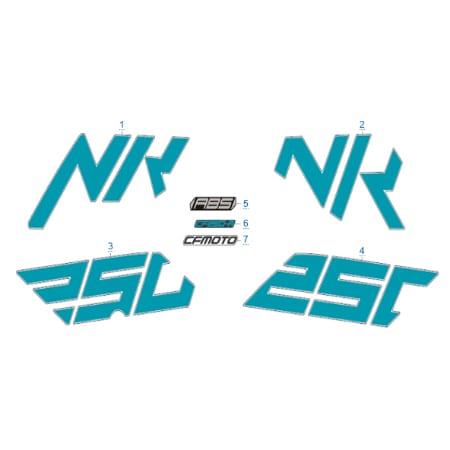 Расположение стикеров 1 для CFMOTO 250 NK (ABS)