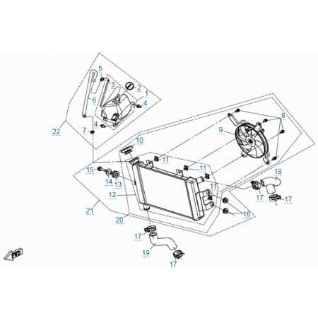Система охлаждения двигателя для CFMOTO 400 NK (ABS)