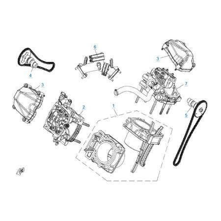 Цилиндр и головка цилиндра в сборе двигателя 2V91W (U8)