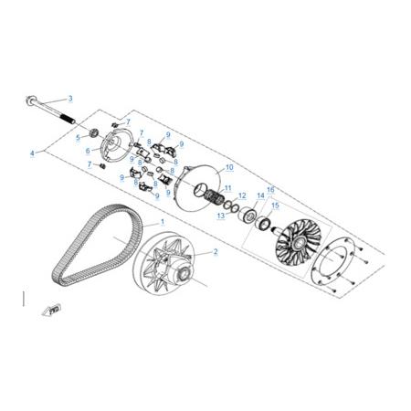 Вариатор в сборе двигателя 2V91Y (U10)