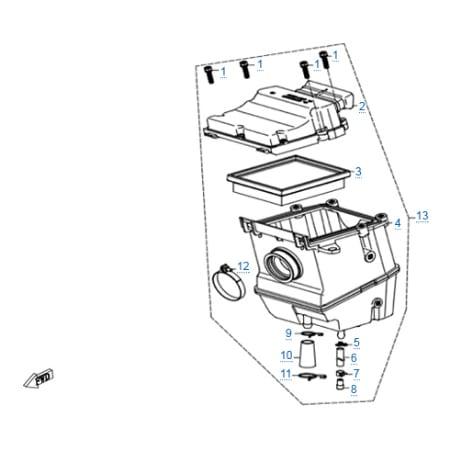 Воздушный фильтр в сборе для CFMOTO 250 NK (ABS)