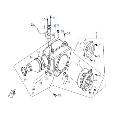 Воздушный фильтр в сборе двигателя 157MJ-2A