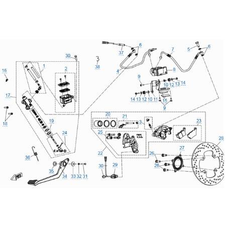 Задняя тормозная система (abs) для CFMOTO 400 NK (ABS)