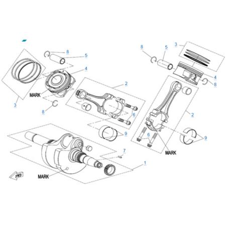 Коленчатый вал-шатун-поршень двигателя 2V91Y (ZFORCE 1000 Sport)