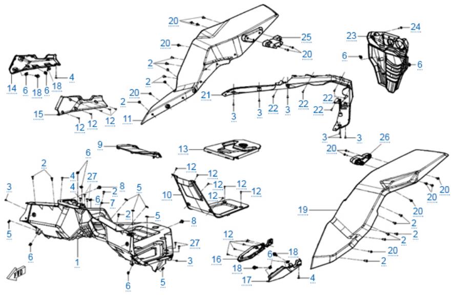 Пластиковые детали 7 для ZFORCE 1000 SPORT EPS