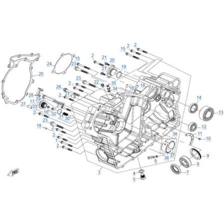 Правая половина картера двигателя 2V91Y (ZFORCE 1000 Sport)