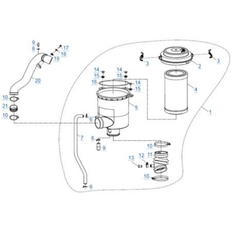 Воздушный фильтр в сборе двигателя 2V91Y (ZFORCE 1000 Sport)